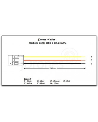Sonar cable, 3 pin, 24cm